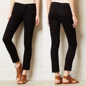 Anthropologie AG Stevie Ankle Black Sateen Jeans